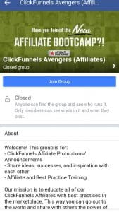 Clickfunnels affiliate program Facebook page